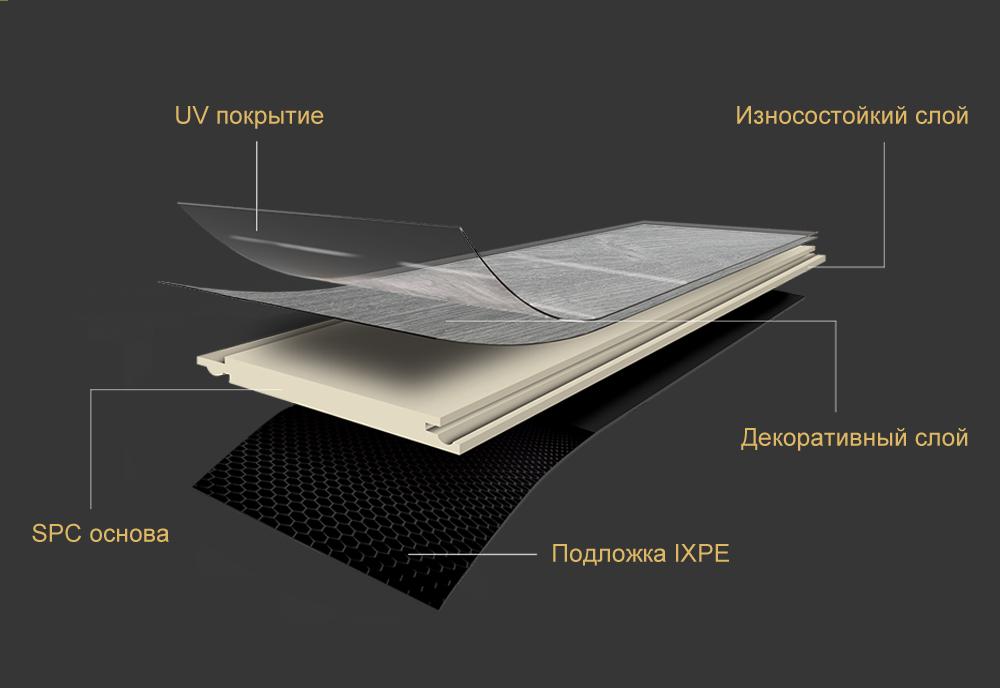 4мм жесткий виниловый пол SPC